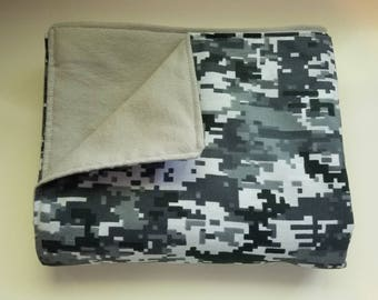 Baby/Toddler Blanket, Camo, Baby Shower, Grey