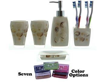 5 Piece Bathroom Accessories Set Beach Themed Embedded w/ Starfish Seashells Dispenser Bottle, Soap Dish, Toothbrush Holder & Two Tumblers