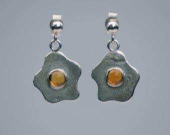 Handmade Sterling Silver Citrine Fried Egg Earrings London Hallamrked