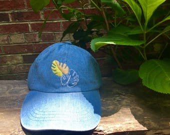 Hand embroidered cap/ Monstera Deliciosa Cap/ Denim hat