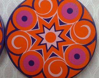 4 vintage coasters, 60s, metal, purple, Orange, pink