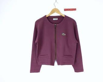 Rare!!! Vintage Lacoste Zippers Pullover Jumper Sweater Chemise Lacoste Double Pocket Jacket Coat Crop top