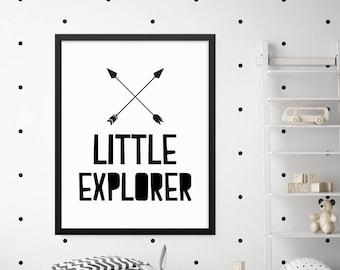 Little Explorer Print, Nursery Prints, Nursery Wall Decor, Nursery Art, Baby Room Decor, Kids Wall Art, Digital Print Wall Art, Quote Prints