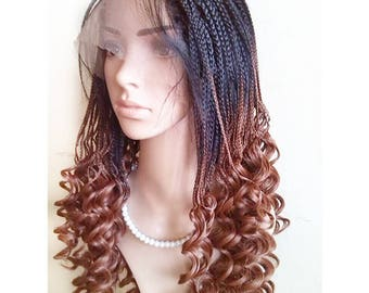 Curly Braids Lace Front Wigs Black Brown Ombre Color