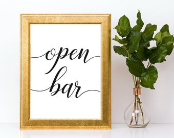 Open Bar Sign Downloadable PDF Wedding Printable Engagement Party