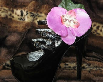 Pink orchid shoe clips (pair)