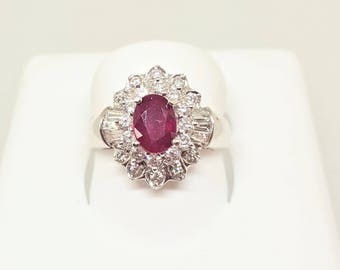 Vintage 18KW Oval Ruby & Diamond Ring Size 6.75
