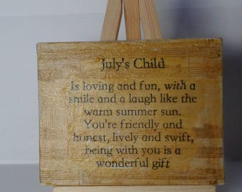 July's Child Mini Mixed Media Canvas