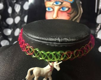 Rainbow Unicorn Tattoo Choker