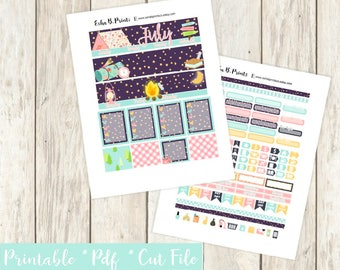 Great Outdoors July Printable Planner Stickers/Monthly Kit/For Use with Erin Condren/Cutfiles Cricut July Fall Camping Glam Fireside