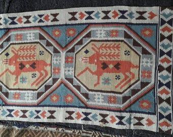 Textile.  Hand woven gobelin. Swedish Rollakan