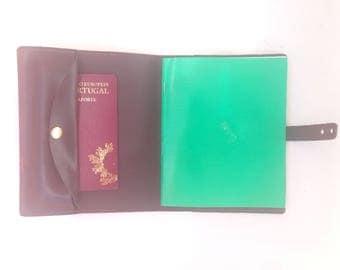 Passport case, leather travel organizer with compartments, leather case, leather briefcase, mobile phone case