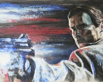 Terminator painting - Arnold Schwarzenegger oil painting - 30 x 42cm / 12 x 16.5in