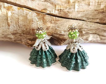 Green coffee capsules Angel earrings