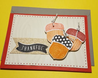 Thankful  Handmade Card - Thanksgiving Cards-  Autumn Card -Fall Card - Thanksgiving Greeting Cards- Thankful Greeting Card- Just Because