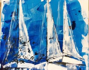 Navy painting, sailboats, sailing canvas painting,