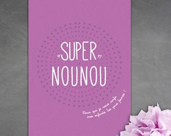 "Map postcard ""Super nanny"" because I trust you..."