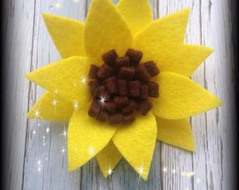 Sunflower barrette-sunflower hair clip-felt sunflower hair barrette