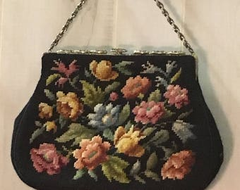 1950's vintage petit needle point tapestry hand bag with chain handle