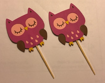 Owl Cupcake Toppers, Owl Birthday, Cupcake Toppers, Handmade