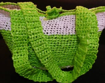 Green and white shoulder bag, bags with plastic