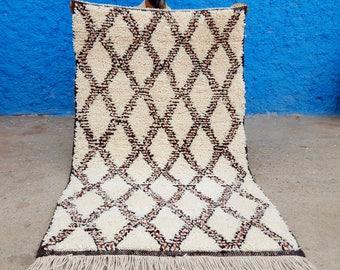 Moroccan rug Beni Ourain rug handmade 100% wool  5 x 3,2 ft