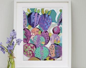 Purple Prickly Cactus Art Print