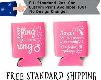 Last Fling Before the Ring Name's Bachelorette Weekend Collapsible Fabric Bachelorette Party Can Cooler Double Side Print (realphoto46)
