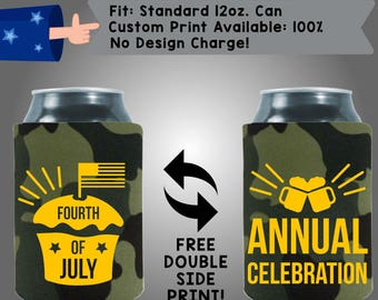 4th of July Annual Celebrations camouflage camo Collapsible Neoprene July 4th Day Custom Can Cooler Double Side Print (FourthofJuly07)