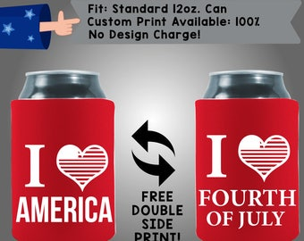 I <3 America I <3 Fourth of July Collapsible Neoprene July 4th Day Custom Can Cooler Double Side Print (FourthofJuly09)