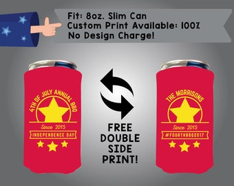 4th of July Annual BBQ 8oz Slim Can Holidays Cooler Double Side Print (8SC-FourthofJuly02)