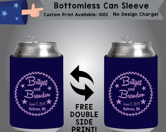 Name and Name Date Place Personalized Bottomless Wedding Can Sleeve Double Side Print (BCS-W7)