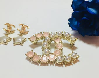 Gold Chanel Brooch Pin with Pearls and Pink Stones and Chanel Earrings with Pearl Stars