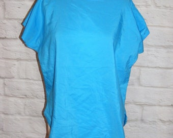 Size 12 vintage 80s blouse loose fit batwing cap sleeve silky turquoise (HF40)