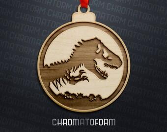 Jurassic Park inspired Christmas Ornament - Laser engraved
