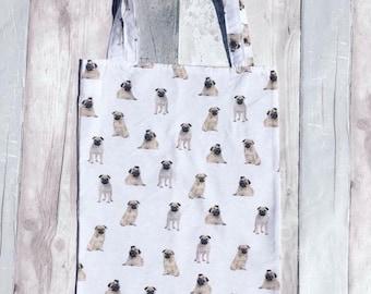 Pug gifts, dog gifts, Pugs, dogs, pug shopping bag, pug market bag, pug tote bag, tote bag, dog tote bag, pug fabric, dog fabric,
