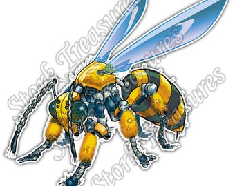 Robot Wasp Bee Yellow Hornet Insect Car Bumper Vinyl Sticker Decal