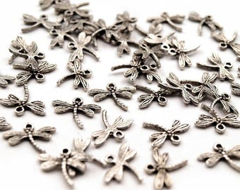 100 followers for charm or necklace, dragonfly, 14 x 18 mm, silver