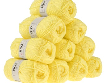 10 x 50 g knitting wool EKO FIL, #097 lemon yellow