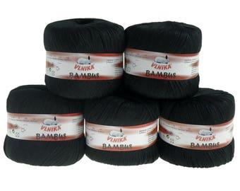 5 x 50 g Knitting yarn bamboo of by VLNIKA, #308 black