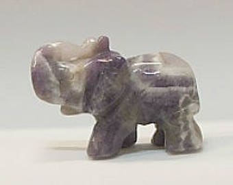 Lucky ELephant with Turnk Up in Amethyst Stone-1a