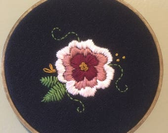 Embroidery hoop Floral Embroidery hoop, pink, navy, hand stitched, pretty, rose, wall art