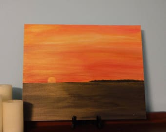 Shimmering Sunset Painting Wall Art Hanging Beach Decor 16 x 20 Original Acrylic Island Sunset Canvas Art Board Seascape Gift