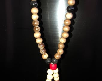 Wooden bead mala prayer necklace