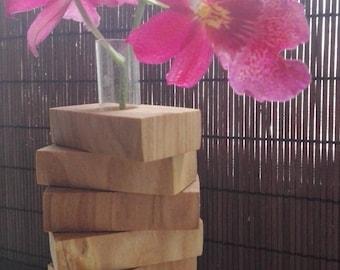 Wooden flower vase with test tube, wooden bud vase, test tube vase, flower vase, mini vase,  gift for mom