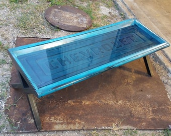 Chevrolet C10 Tailgate Repurposed Coffee Table Industrial Hot Rod Car  Furniture