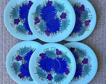 Set of 6 Melamine Bessemer Saucers with Blue Floral Design Bessemerware Made In Australia Nylex Corporation