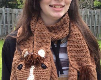 Cuddly Crochet Horse Scarf/Crochet Scarf/Fun Scarf