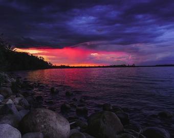 Nature Photography, Lake, Water View, Beautiful, Sunset, Camping Cite, Rocky Shore