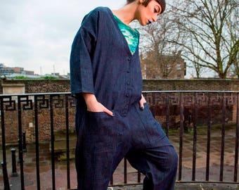 Denim Jumpsuit with Pockets, Harem Jumpsuit Women, Denim Overalls, Hippie Clothes, Bohemian Clothing, Gift for Women, Handmade by Kriyawear